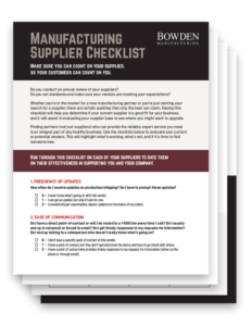 Manufacturing Supplier Checklis