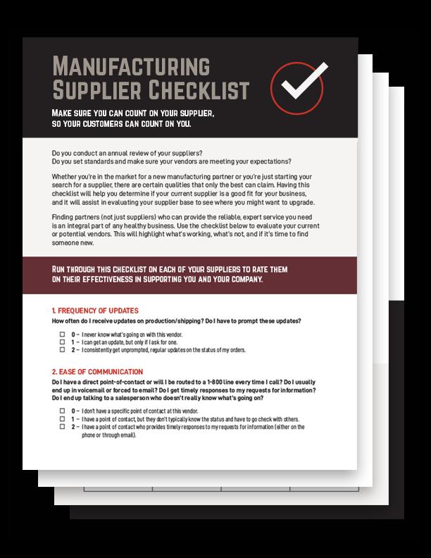 Manufacturing Supplier Checklist